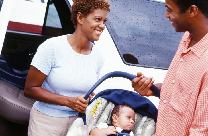 Mum, Dad with Baby in car seat